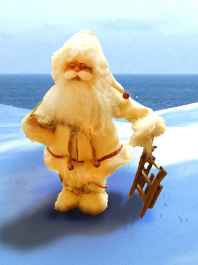 white father christmas in the snow greenland