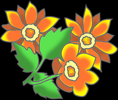 free flower clipart on black background