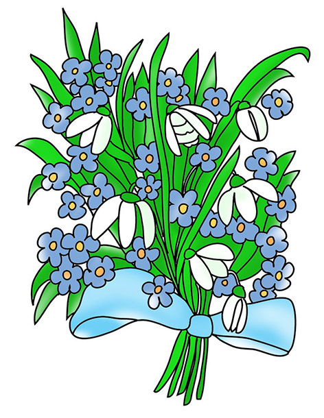 snowdrops and forget-me-not to color