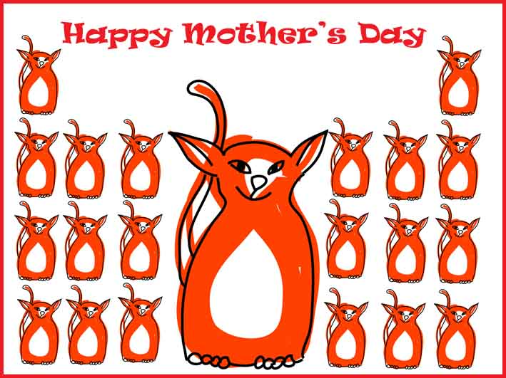 free mothers day cards lots of red kittens