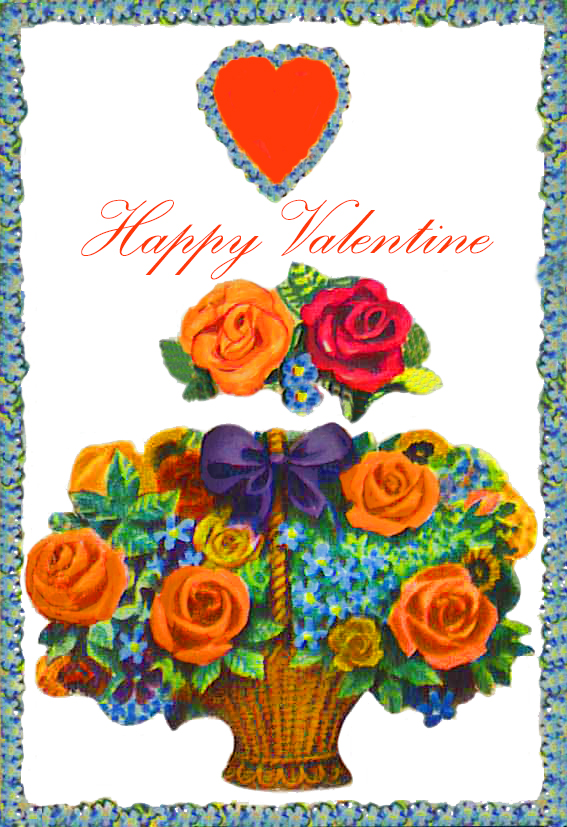 Happy Valentine card with flowers