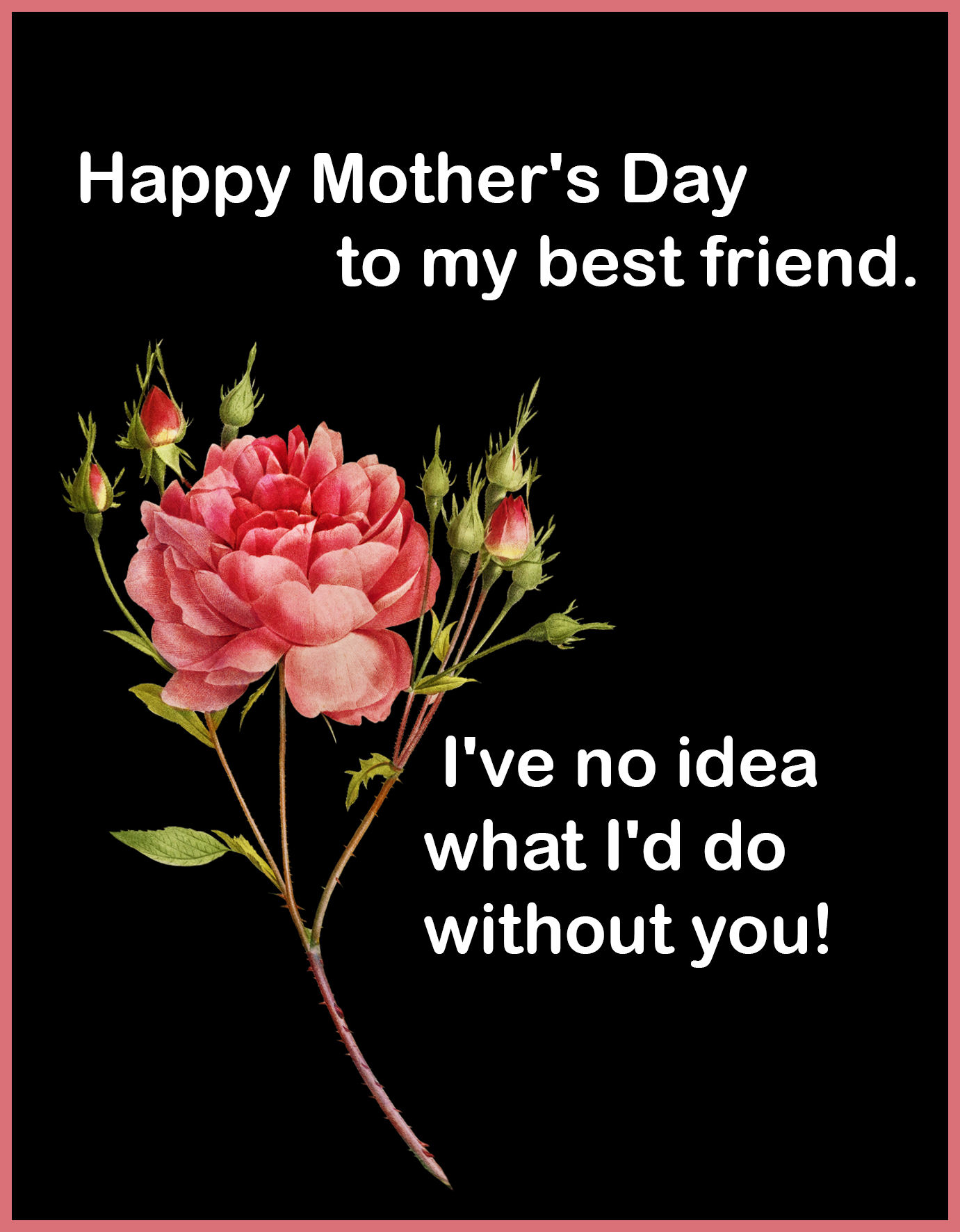 friend Mother's day greeting black with red rose