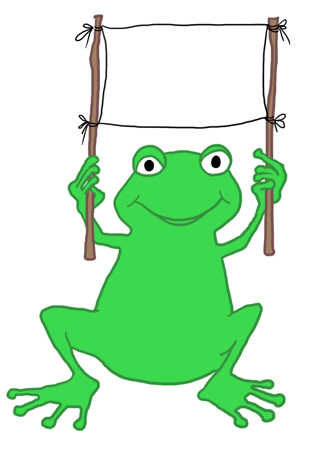 frog with banner