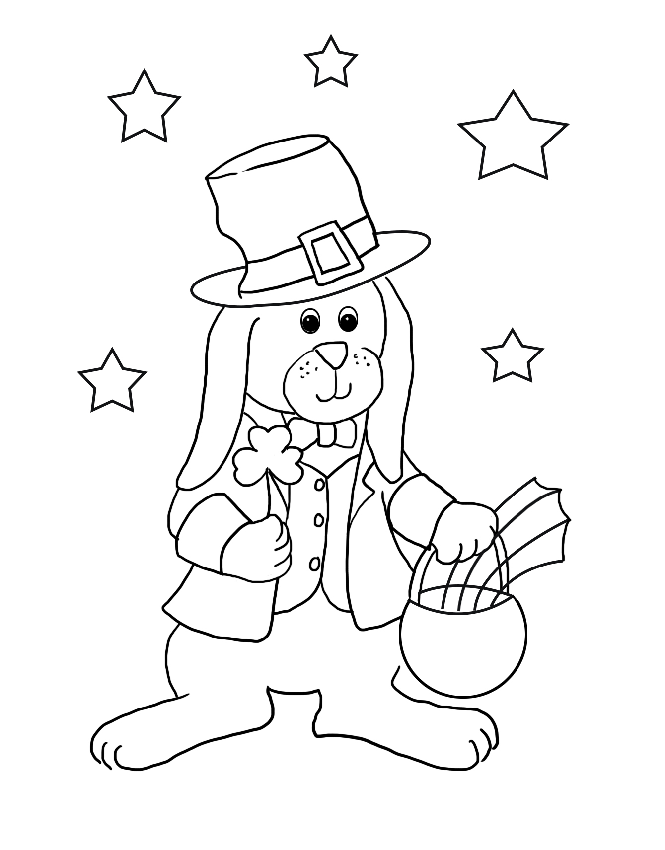 funny bunny for coloring St. Patrick's day