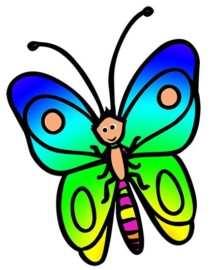funny flying butterfly cartoon drawing