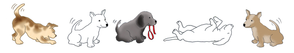 border with funny clip art dogs