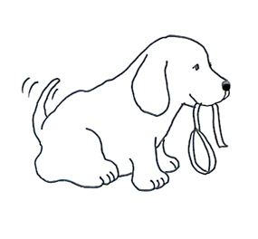 Funny cute dog with dog leash sketch