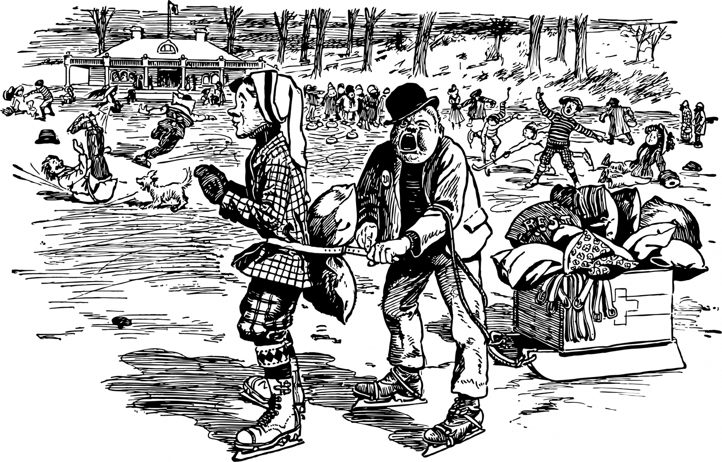 funny ice skating clipart
