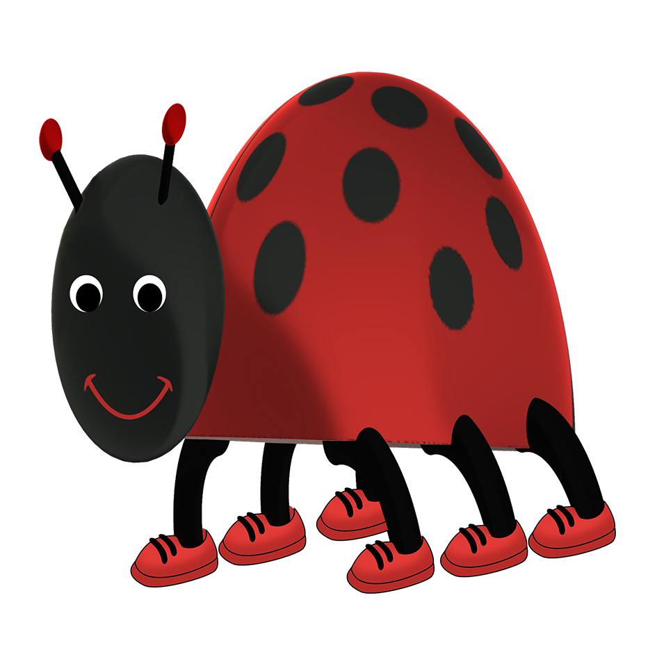 funny ladybug cartoon with shoes