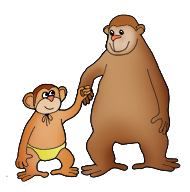 funny monkey clipart big with young one