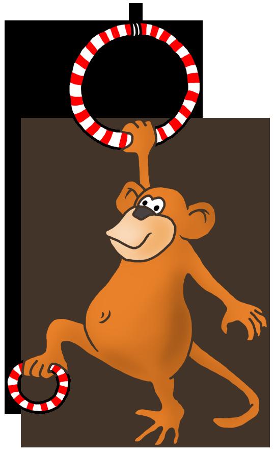 funny monkey gymnastic drawing