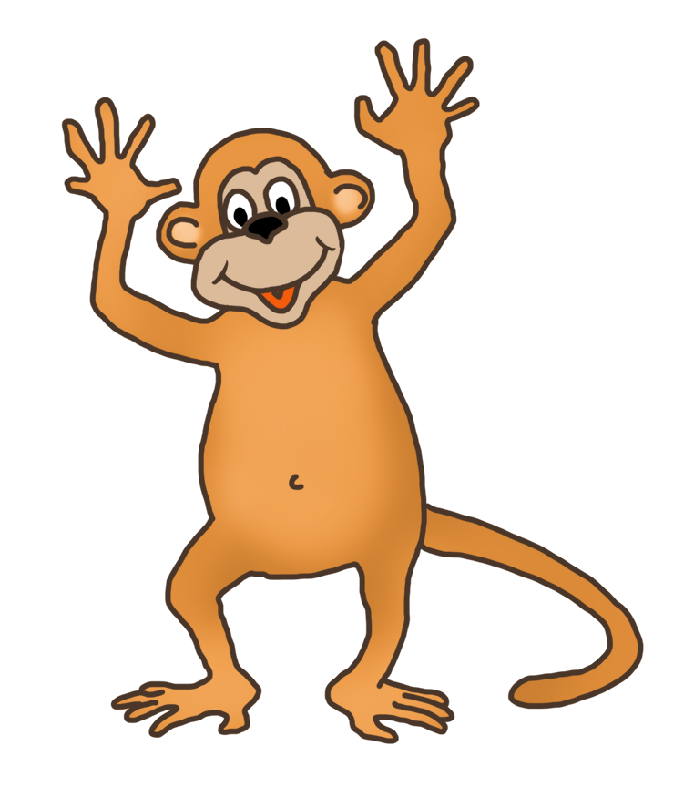 funny monkey clip art waving