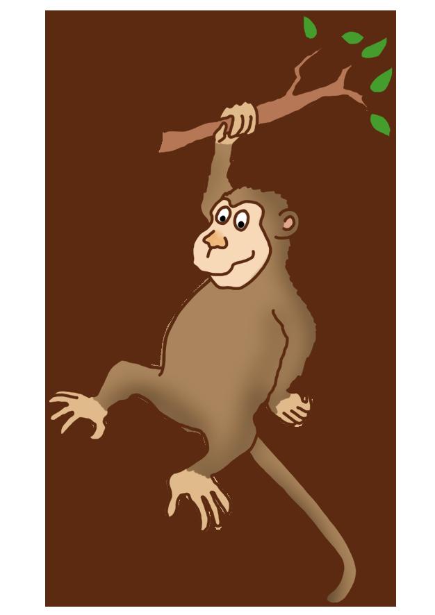 funny monkey climbing a tree