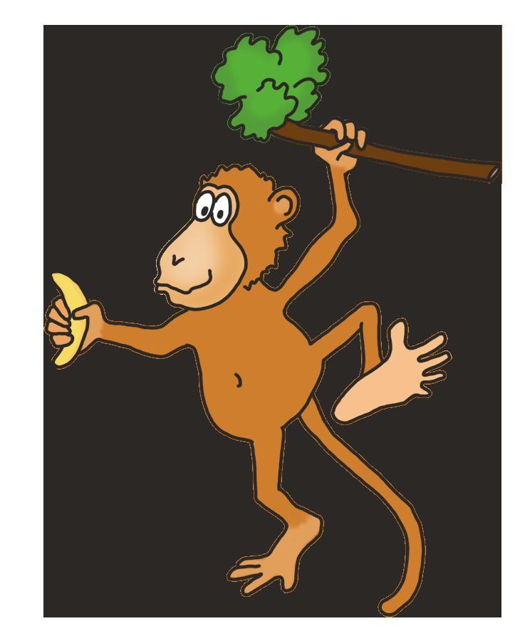 funny monkey drawing with banana