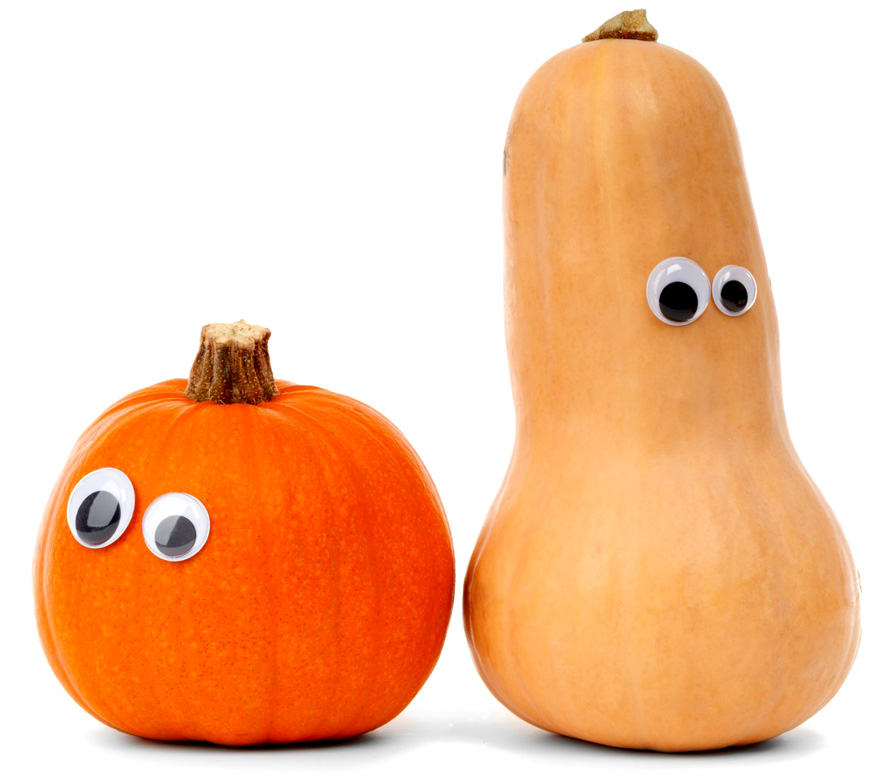 two funny pumpkins