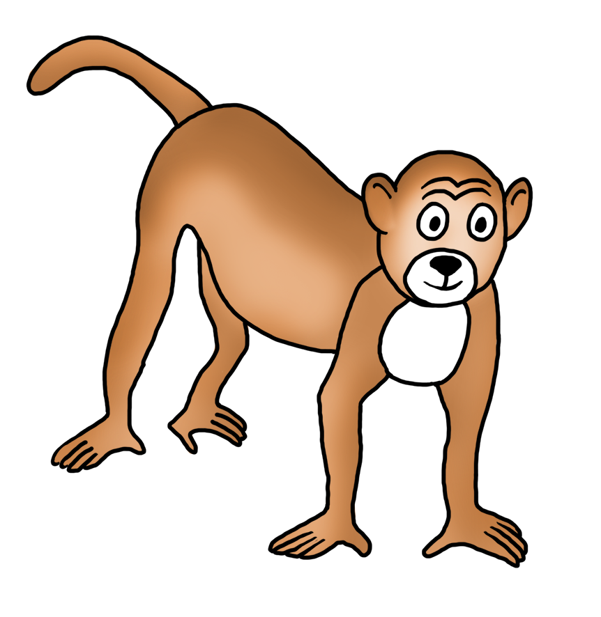 drawing bald monkey clip art