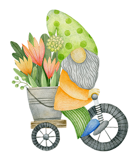 garden gnome on bike with flowers
