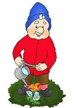 gnome watering flowers