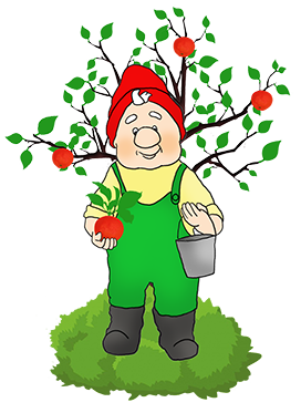 garden gnome and apple tree