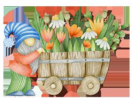 garden gnome with barrel