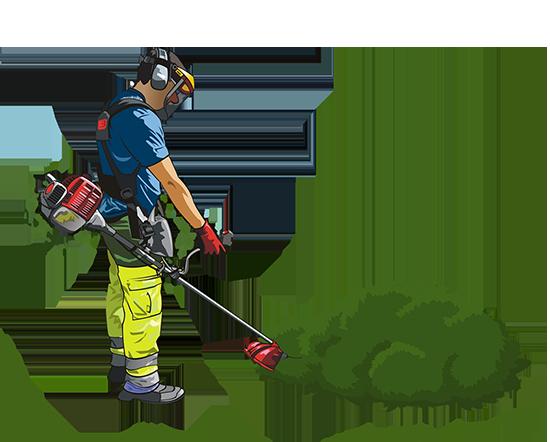 gardener with grass trimmer