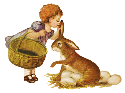 Girl collecting Easter eggs with hare