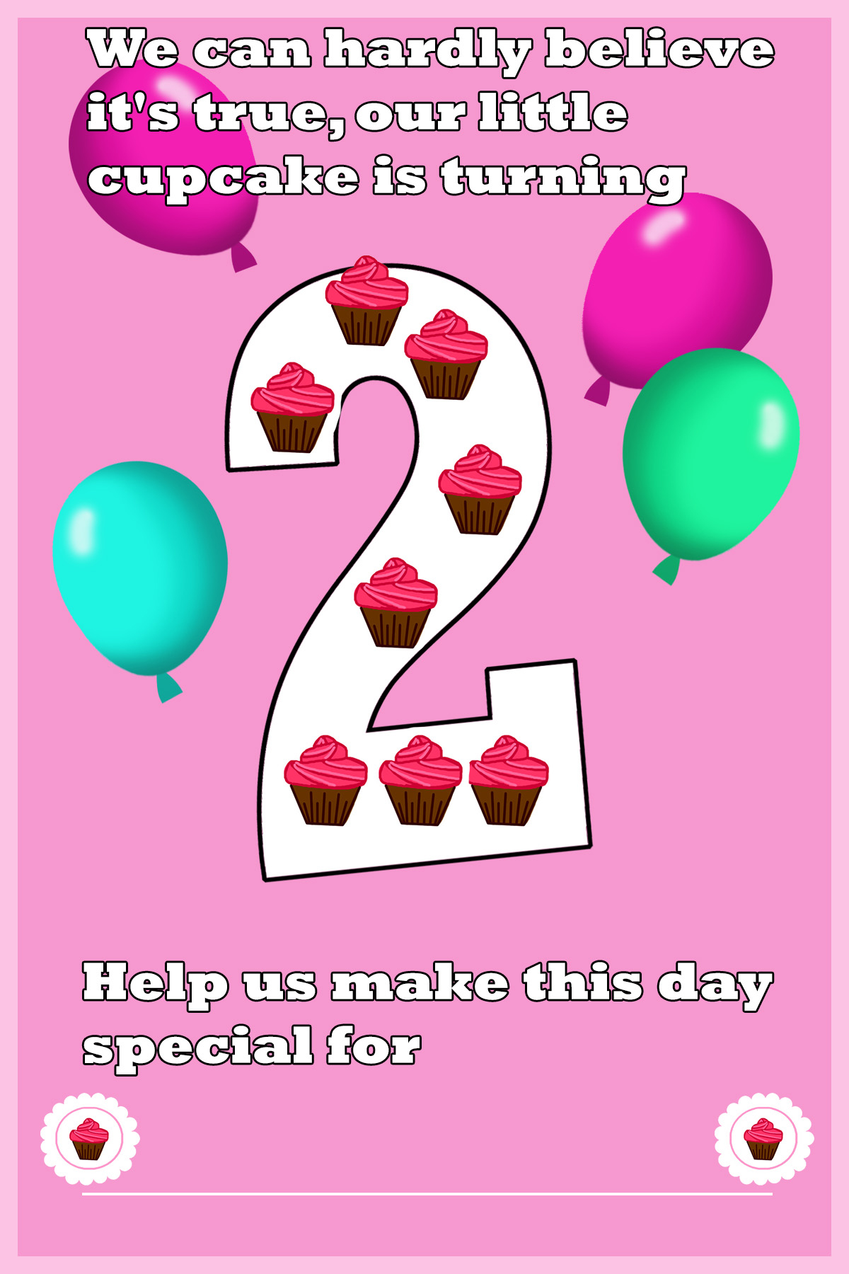 pink 2nd birthday invitation