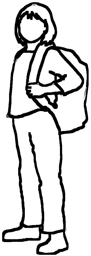 black stroke silhouette school girl