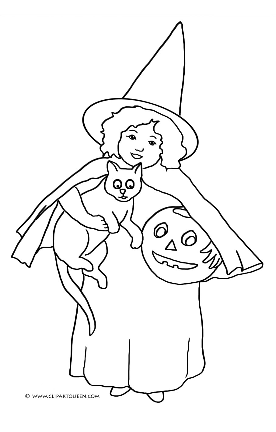 girl witch with cat and pumpkin head