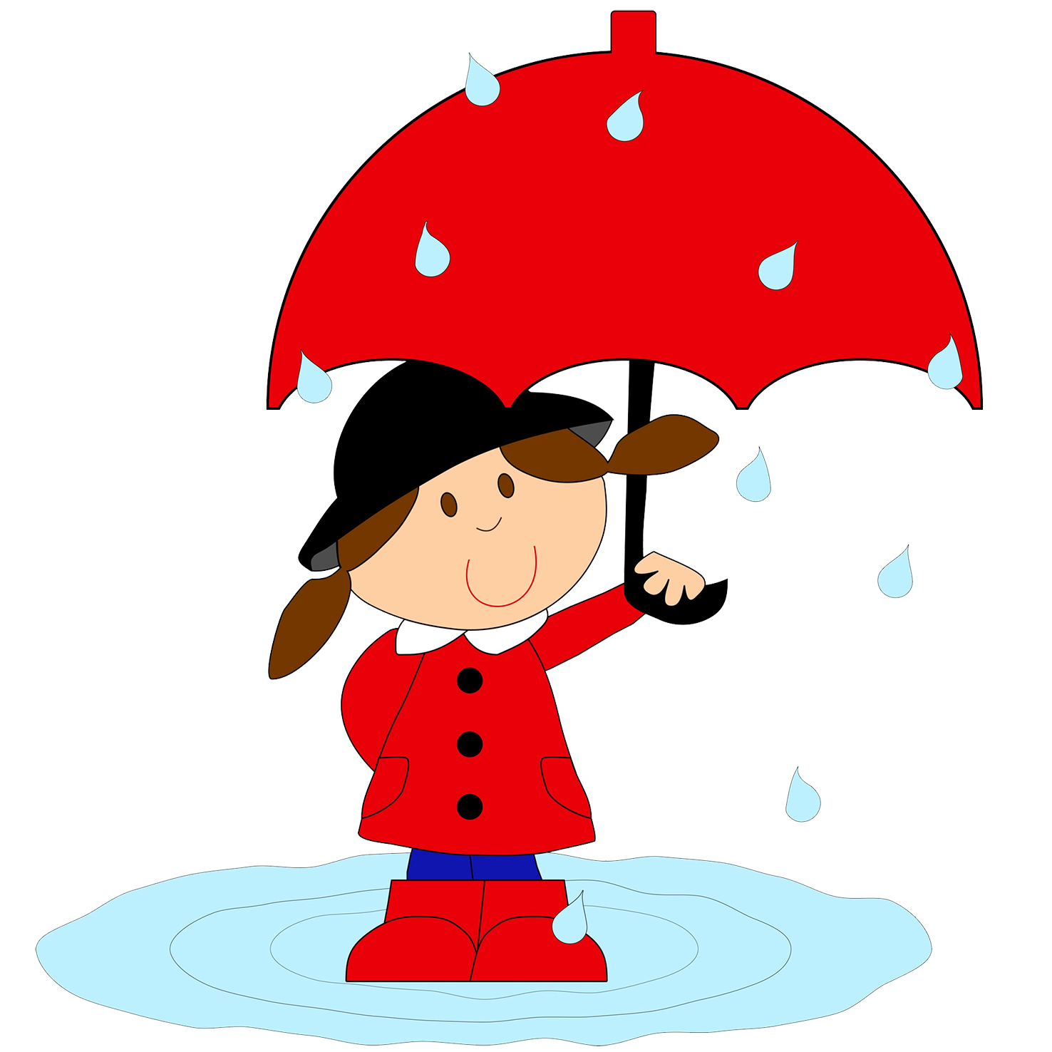 girl with umbrella in rain