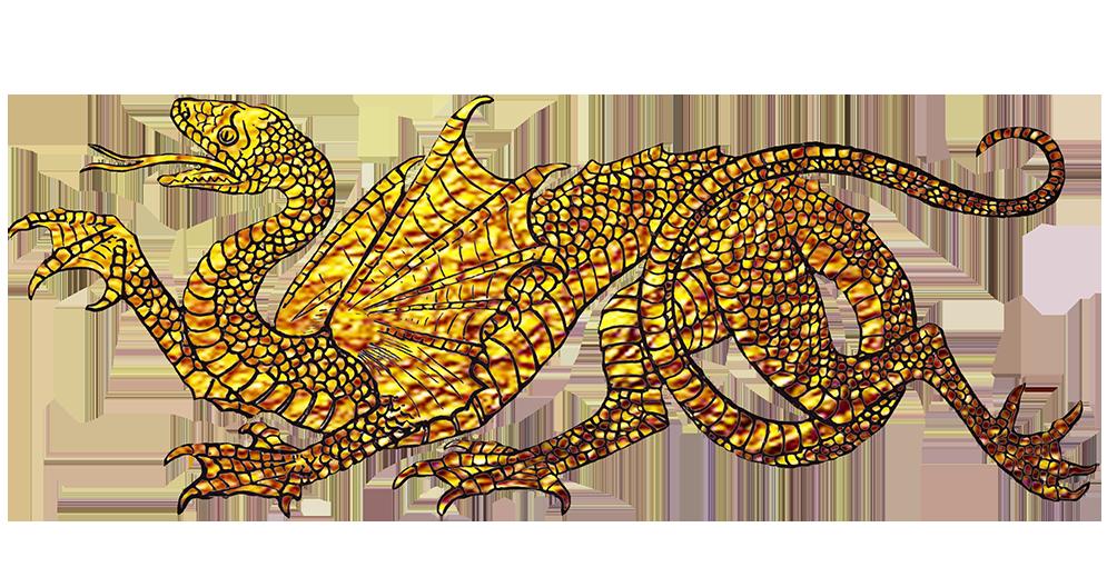 Golden dragon drawing