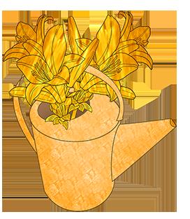 golden water can golden flowers