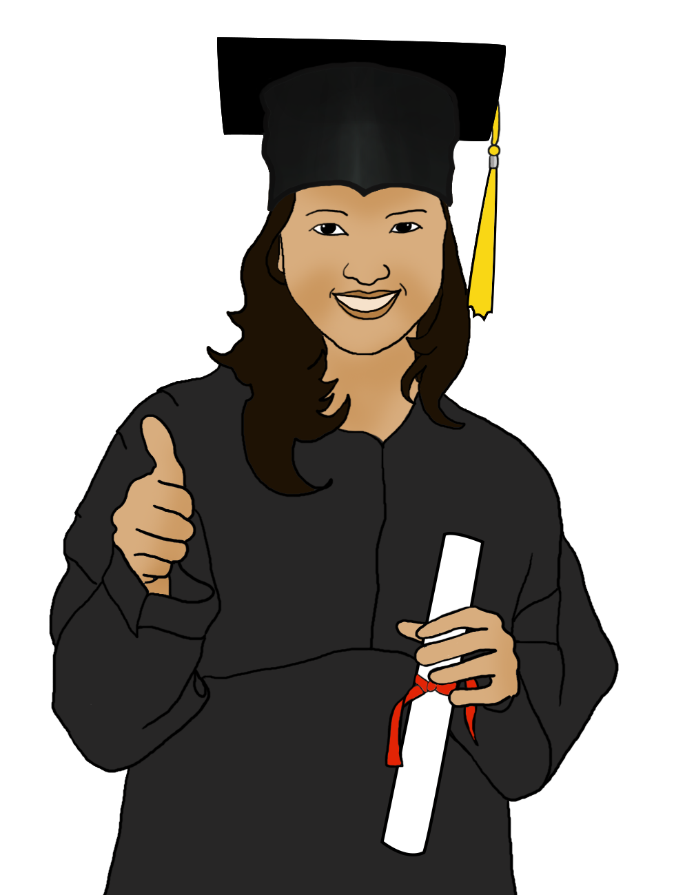 graduation girl with diploma clipart