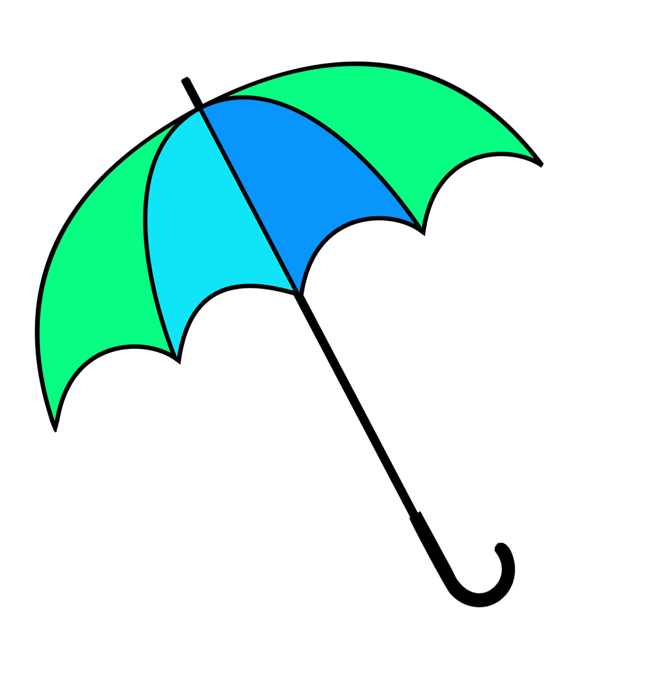 green and blue umbrella clipart