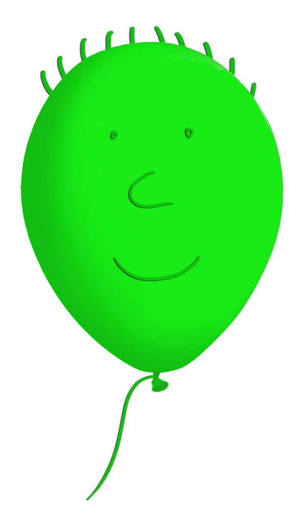 green funny balloon face