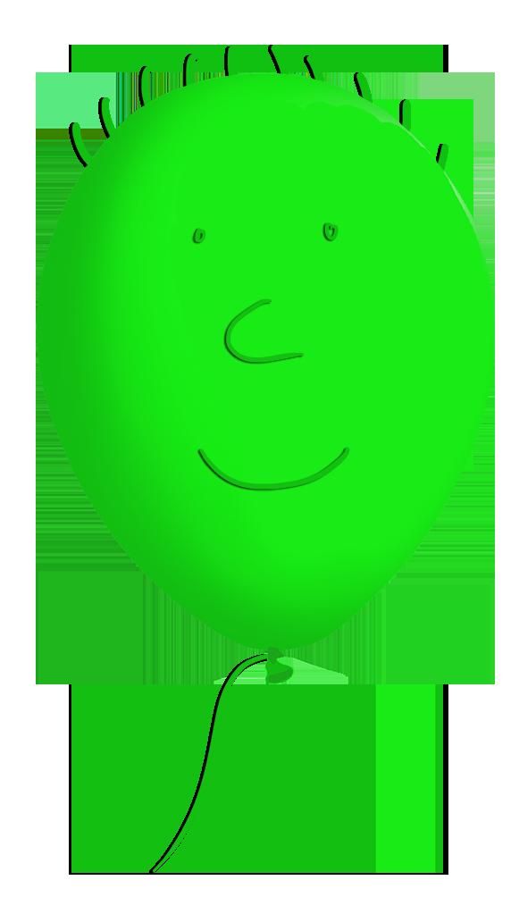 green funny balloon face
