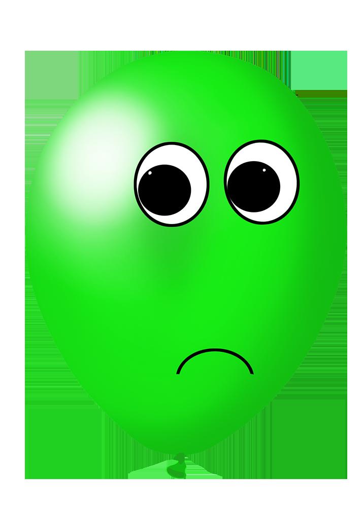 green balloon with face