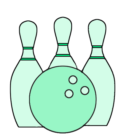 green bowling ball and cones