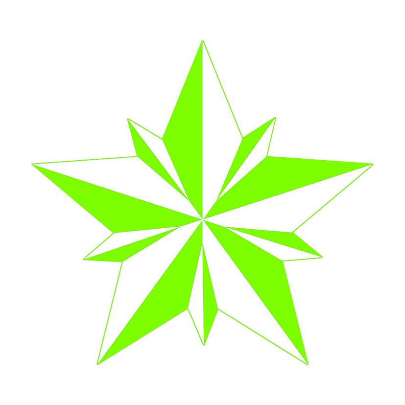green facted star