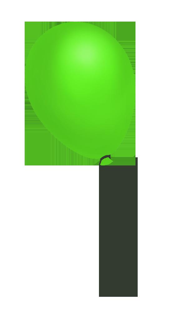 green flying balloon