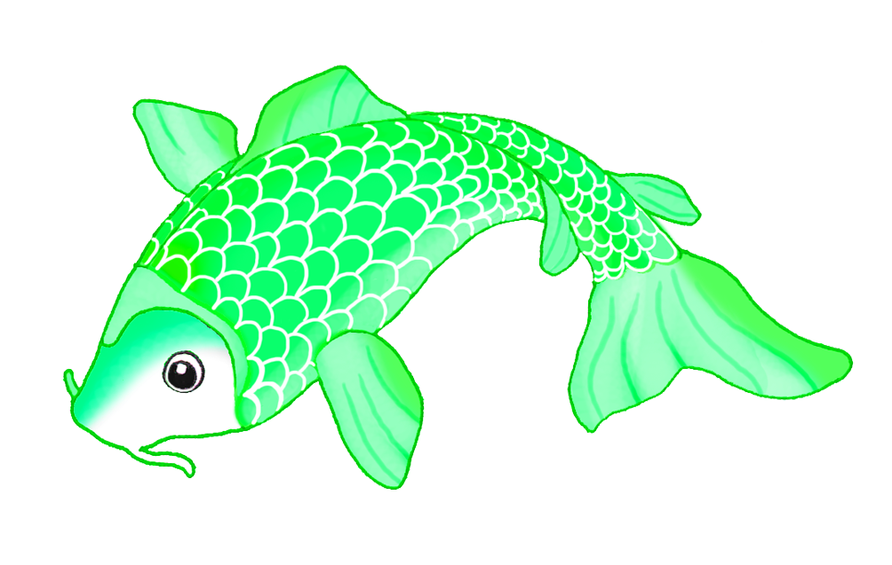 green koi fish sketch