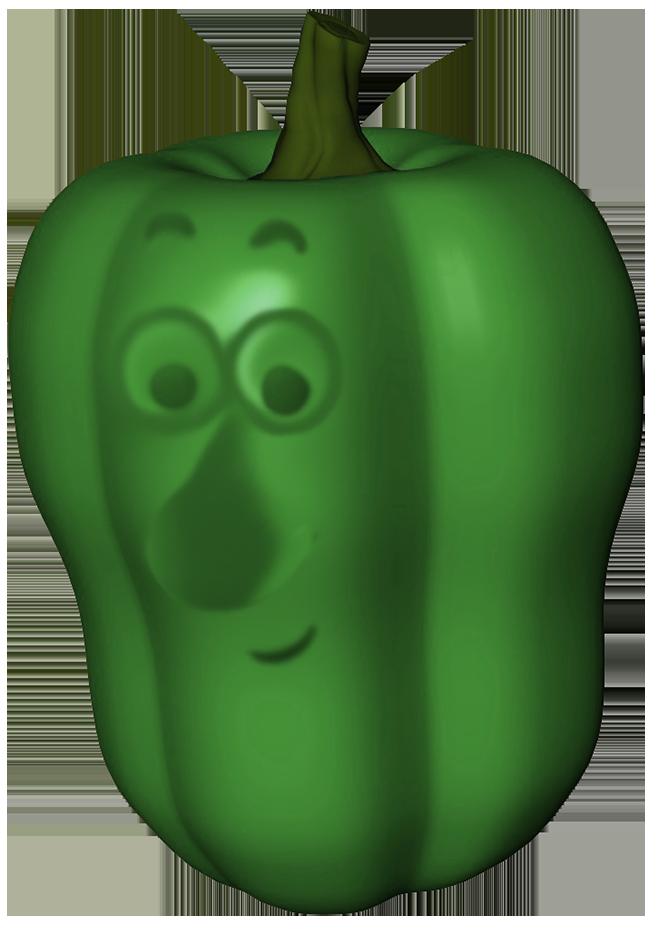 green pepper cartoon face