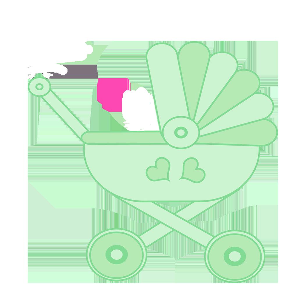 green stroller clipart