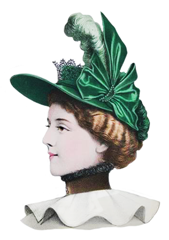 green hat with bow and tiara
