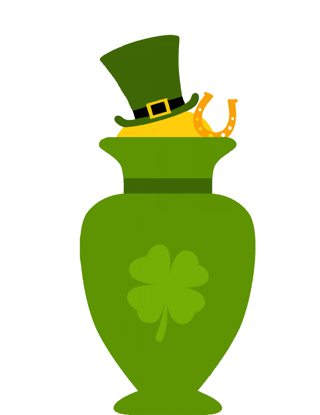 green vase with clover and leprechaun hat
