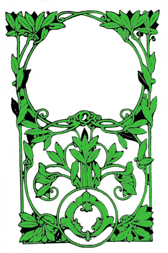 Vintage picture frame with green leaves