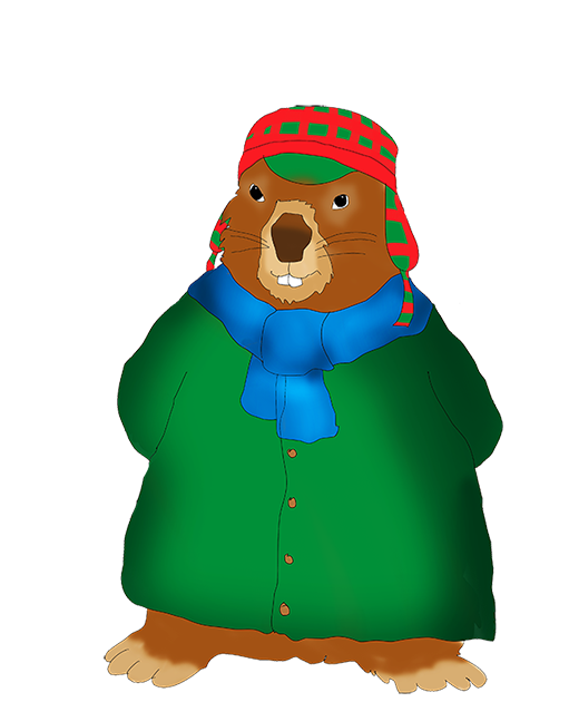 winterdressed groundhog clip art