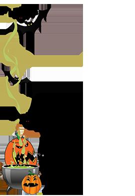 halloween border cauldron pumpkins cat bats