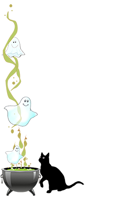 halloween border cat ghosts cauldron
