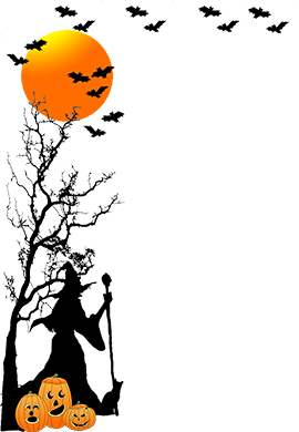 halloween border tree witch bats moon